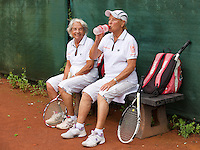 Netherlands, Amstelveen, August 18, 2015, Tennis,  National Veteran Championships, NVK, TV de Kegel,  Lady's doubles 80+ years,  Bea Nerden and Wil Sevenstern-van der Ree (L)<br /> Photo: Tennisimages/Henk Koster