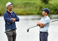 22nd July 2020; Blaine, Minnesota, USA;  Actor Josh Duhamel and Paul Casey chat during the 3M Open Compass Challenge at TPC Twin Cities in Blaine, Minnesota
