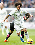 Real Madrid's Marcelo Vieira (f) and RCD Espanyol's Hernan Perez during La Liga match. February 18,2017. (ALTERPHOTOS/Acero)