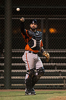 AZL Giants Orange catcher Fabian Pena (14) during an Arizona League game against the AZL Athletics at Lew Wolff Training Complex on June 25, 2018 in Mesa, Arizona. AZL Giants Orange defeated the AZL Athletics 7-5. (Zachary Lucy/Four Seam Images)