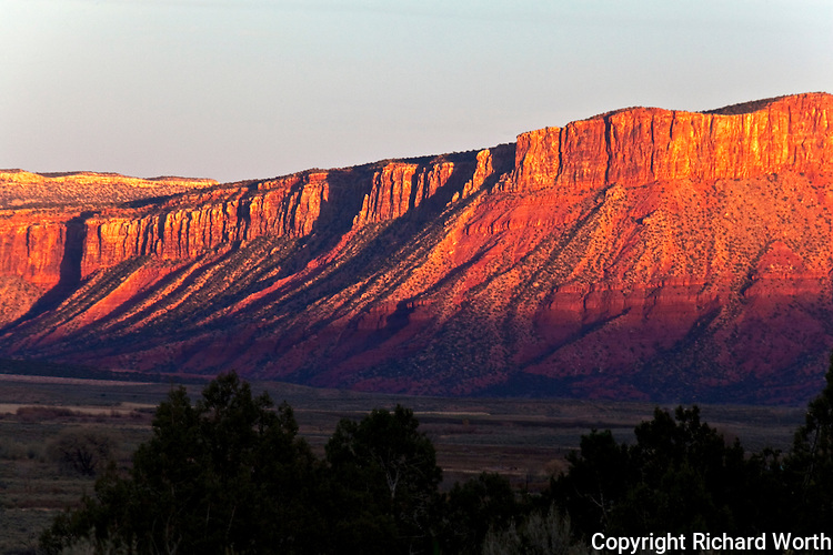 Sunset and the red cliffs of Paradox Valley in southwestern Colorado.
