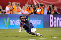 United States goalkeeper Bill Hamid (12) during warmups. The men's national teams of the United States (USA) and Mexico (MEX) played to a 1-1 tie during an international friendly at Lincoln Financial Field in Philadelphia, PA, on August 10, 2011.