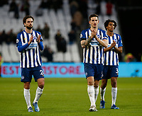 1st February 2020; London Stadium, London, England; English Premier League Football, West Ham United versus Brighton and Hove Albion; Davy Propper, Lewis Dunk and Bernardo of Brighton and Hove Albion applaud the away supporters at full time