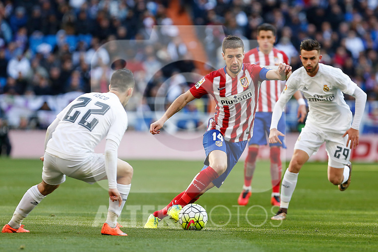 Atletico de Madrid´s Gabi during 2015/16 La Liga match between Real Madrid and Atletico de Madrid at Santiago Bernabeu stadium in Madrid, Spain. February 27, 2016. (ALTERPHOTOS/Victor Blanco)
