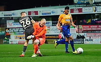 Lincoln City's Harry Anderson is fouled by Mansfield Town's Conrad Logan to win a penalty<br /> <br /> Photographer Chris Vaughan/CameraSport<br /> <br /> The EFL Sky Bet League Two - Mansfield Town v Lincoln City - Monday 18th March 2019 - Field Mill - Mansfield<br /> <br /> World Copyright © 2019 CameraSport. All rights reserved. 43 Linden Ave. Countesthorpe. Leicester. England. LE8 5PG - Tel: +44 (0) 116 277 4147 - admin@camerasport.com - www.camerasport.com