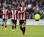 Billy Sharp of Sheffield Utd applauds the fans during the championship match at the Bramall Lane Stadium, Sheffield. Picture date 14th April 2018. Picture credit should read: Simon Bellis/Sportimage