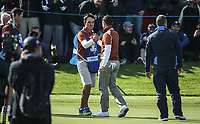 Rory McIlroy (Team Europe) with Harry during Saturday's Fourballs, at the Ryder Cup, Le Golf National, &Icirc;le-de-France, France. 29/09/2018.<br /> Picture David Lloyd / Golffile.ie<br /> <br /> All photo usage must carry mandatory copyright credit (&copy; Golffile | David Lloyd)