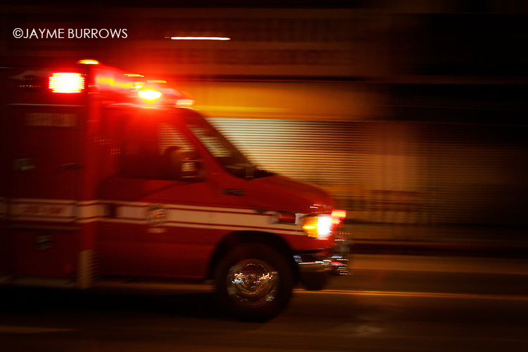 An ambulance on the move in Los Angeles, CA.
