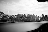 start crowd from the teamcar<br /> <br /> 2013 Tour of Britain<br /> stage 6: Sidmouth to Haytor (Dartmorr): 137km
