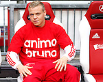 Nederland, Amsterdam, 2 mei 2012.Eredivisie.Seizoen 2011-2012.Ajax-VVV.Kolbeinn Sigthorsson van Ajax heeft een shirt aan met de tekst: 'animo bruno'. Deze tekst ondersteunt Bruno Silva van Ajax, met zijn langdurige blessure waarmee hij momenteel kampt.