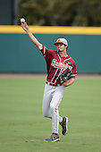 Florida State Seminoles outfielder Ben DeLuzio (21) warms up before a game against the South Florida Bulls on March 5, 2014 at Red McEwen Field in Tampa, Florida.  Florida State defeated South Florida 4-1.  (Copyright Mike Janes Photography)
