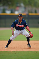 Atlanta Braves Braulio Vasquez (14) during practice before a Minor League Spring Training game against the New York Yankees on March 12, 2019 at New York Yankees Minor League Complex in Tampa, Florida.  (Mike Janes/Four Seam Images)