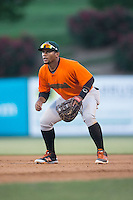 Augusta GreenJackets first baseman Miguel Gomez (9) on defense against the Kannapolis Intimidators at Intimidators Stadium on May 30, 2016 in Kannapolis, North Carolina.  The GreenJackets defeated the Intimidators 5-3.  (Brian Westerholt/Four Seam Images)