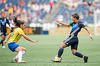 Seattle, WA - Thursday July 27, 2017:   Kumi Yokoyama during a 2017 Tournament of Nations match between the women's national teams of the Japan (JAP) and Brazil (BRA) at CenturyLink Field.