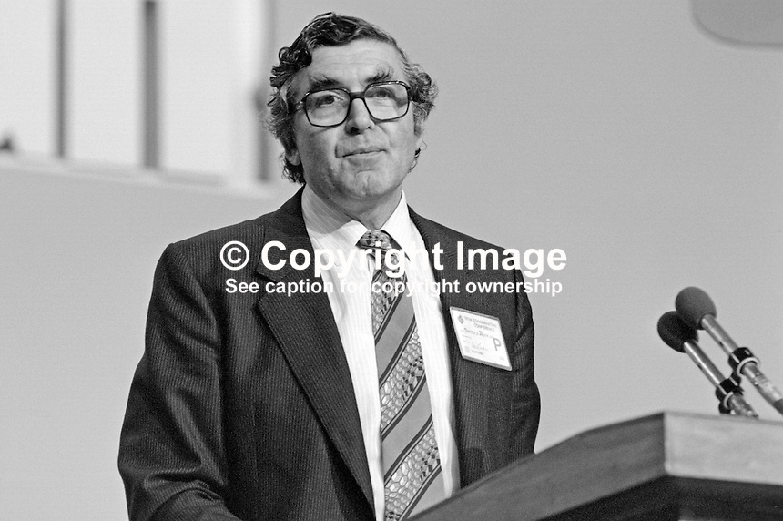 Patrick Jenkin, MP, Secretary of State for the Environment, addressing the 1984 annual conference of the Conservative Party in Brighton. This was the year when there was a Provisional IRA bomb in the Grand Hotel where Cabinet members &amp; other conference VIPs were staying. 19840143PJ2.<br />
