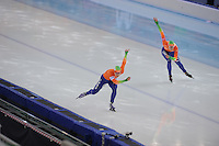 SPEEDSKATING: SOCHI: Adler Arena, 24-03-2013, Essent ISU World Championship Single Distances, Day 4, 500m Ladies, Thijsje Oenema (NED), Margot Boer (NED), © Martin de Jong