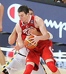 07.09.2014. Barcelona, Spain. 2014 FIBA Basketball World Cup, round of 8. Picture show Ö. Asik in action during game between Lithuania v Turkey at Palau St. Jordi.