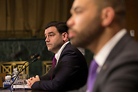 Carlos Monje, Junior, the Director of Public Policy and Philanthropy at Twitter, and Neil Potts, the Public Policy Director at Facebook, testify before the United States Senate Committee on the Judiciary on Capitol Hill in Washington DC to discuss the stifling of free speech on social media on April 10, 2019.<br /> Credit: Stefani Reynolds / CNP/AdMedia