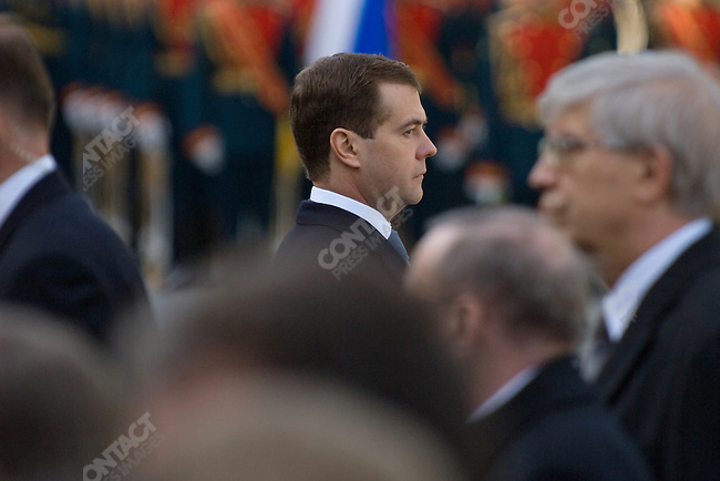 Dmitri Medvedev, the Russian president, stood waiting for other members of the government to lay flowers at the tomb of the unknown soldier at the walls of the Kremlin to lay a wreath commemorating the fallen of World War II as an honour guard looked on. Moscow, Russia, May 8, 2008