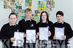 Killarney Community College students Orlaith Murphy, Lukasz Siembab, Kelsey Somers and Ryan Booth with their Junior cert results on Wednesday