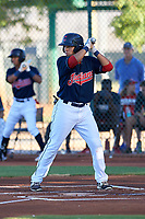 AZL Indians Red Cesar Idrogo (17) at bat during an Arizona League game against the AZL Padres 1 on June 23, 2019 at the Cleveland Indians Training Complex in Goodyear, Arizona. AZL Indians Red defeated the AZL Padres 1 3-2. (Zachary Lucy/Four Seam Images)
