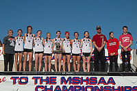 The Jackson Lady Indians pose with their 4th-place Class 4 trophy and medals at the 2015 MSHSAA State Cross Country Championships in Jefferson City, Saturday, November 7.