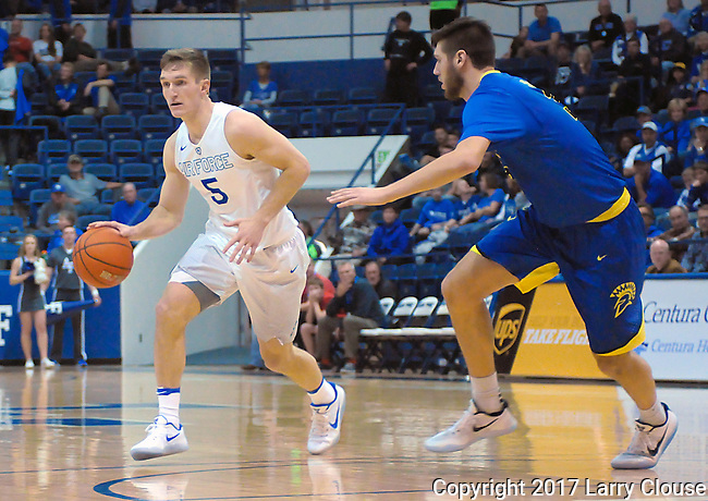 January 14, 2017:  Air Force guard, Zach Kocur #5, during the NCAA basketball game between the San Jose State Spartans and the Air Force Academy Falcons, Clune Arena, U.S. Air Force Academy, Colorado Springs, Colorado.  San Jose State defeats Air Force 89-85.