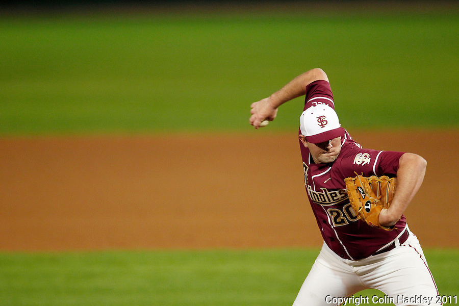TALLAHASSEE, FL 10-FSU-B.C. BASE031111 CH-Florida State's Daniel Bennett throws in relief against Boston College Friday at Dick Howser Stadium in Tallahassee. The Seminoles beat the Eagles 3-1..COLIN HACKLEY PHOTO
