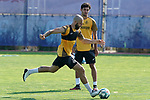 Getafe's David Timor (l) and Hugo Duro during training session. May 25,2020.(ALTERPHOTOS/Acero)