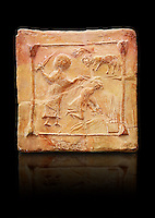 6th-7th Century Eastern Roman Byzantine  Christian Terracotta tiles depicting Abraham about to offer his son Isaac as a sacrifice<br />   - Produced in Byzacena -  present day Tunisia. <br /> <br /> These early Christian terracotta tiles were mass produced thanks to moulds. Their quadrangular, square or rectangular shape as well as the standardised sizes in use in the different regions were determined by their architectonic function and were designed to facilitate their assembly according to various combinations to decorate large flat surfaces of walls or ceilings. <br /> <br /> Byzacena stood out for its use of biblical and hagiographic themes and a richer variety of animals, birds and roses. Some deer and lions were obviously inspired from Zeugitana prototypes attesting to the pre-existence of this province's production with respect to that of Byzacena. The rules governing this art are similar to those that applied to late Roman and Christian art with, in the case of Byzacena, an obvious popular connotation. Its distinguishing features are flatness, a predilection for symmetrical compositions, frontal and lateral representations, the absence of tridimensional attitudes and the naivety of some details (large eyes, pointed chins). Mass production enabled this type of decoration to be widely used at little cost and it played a role as ideograms and for teaching catechism through pictures. Painting, now often faded, enhanced motifs in relief or enriched them with additional details to break their repetitive monotony.<br /> <br /> The Bardo National Museum Tunis, Tunisia.  Against a black background.