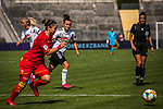 31.08.2019, Auestadion, Kassel, GER, DFB Frauen, EM Qualifikation, Deutschland vs Montenegro , DFB REGULATIONS PROHIBIT ANY USE OF PHOTOGRAPHS AS IMAGE SEQUENCES AND/OR QUASI-VIDEO<br /> <br /> im Bild | picture shows:<br /> Lina Magull (DFB Frauen #20) im Duell, <br /> <br /> Foto © nordphoto / Rauch