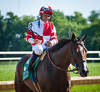 WILMINGTON, DE - JULY 15: Songbird #5, ridden by Mike Smith, comes back after winning the G1 Delaware Handicap at Delaware Park in Wilmington, Delaware. (Photo by Sophie Shore/Eclipse Sportswire/Getty Images)