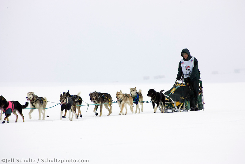 Jeff King on Trail in Fog near Nome  2005 Iditarod
