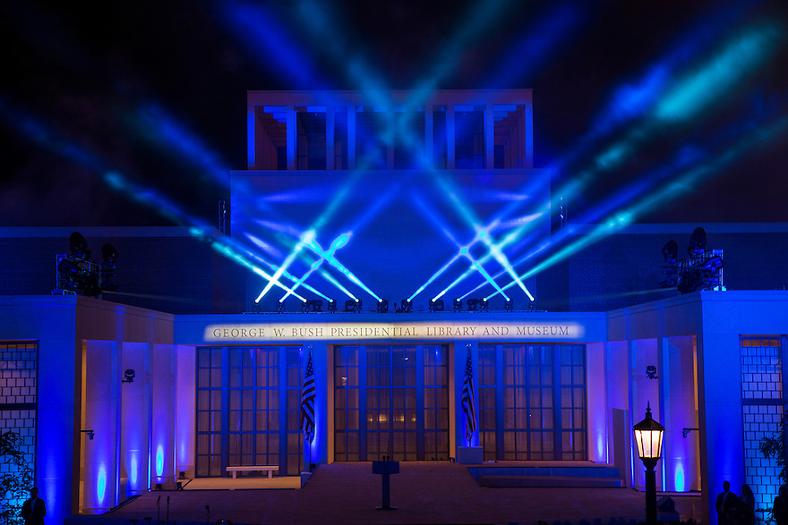 A lighting display at the dedication of the George W. Bush presidential library on the campus of Southern Methodist University in Dallas.