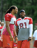 Jul 31, 2009; Flagstaff, AZ, USA; Arizona Cardinals wide receiver Anquan Boldin (right) with Larry Fitzgerald during training camp on the campus of Northern Arizona University. Mandatory Credit: Mark J. Rebilas-