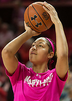 COLLEGE PARK, MD - FEBRUARY 03: Shakira Austin #1 of Maryland warms up during a game between Michigan State and Maryland at Xfinity Center on February 03, 2020 in College Park, Maryland.