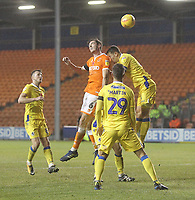 Blackpool's Ben Heneghan gets a header on goal<br /> <br /> Photographer Mick Walker/CameraSport<br /> <br /> The EFL Sky Bet League One - Blackpool v Bristol Rovers - Saturday 3rd November 2018 - Bloomfield Road - Blackpool<br /> <br /> World Copyright © 2018 CameraSport. All rights reserved. 43 Linden Ave. Countesthorpe. Leicester. England. LE8 5PG - Tel: +44 (0) 116 277 4147 - admin@camerasport.com - www.camerasport.com
