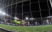 24th June 2020, Bergamo, Italy; Seria A football league, Atalanta versus Lazio;  Atalantas Robin Gosens scores his goal for 1-2 in the 38th minute