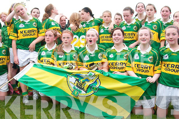 The Kerry ladies under 14 football team who beat the all Ireland Champions Cork in Listowel on Sunday evening. Front from left, Maura O Connor, Heither O Rourke, Megan Galvin, Sorcha MacNultyAoife Godfoe, Leeann Curran. Back from left, Denis Leahy, trainer, Reann O Shea, Megan O Connell, Michelle O Connor, Marie Quirke, Norma O Sullivan, Mairead Foley, Katie Splain, Meabh Barry, Clare O Sullivan..