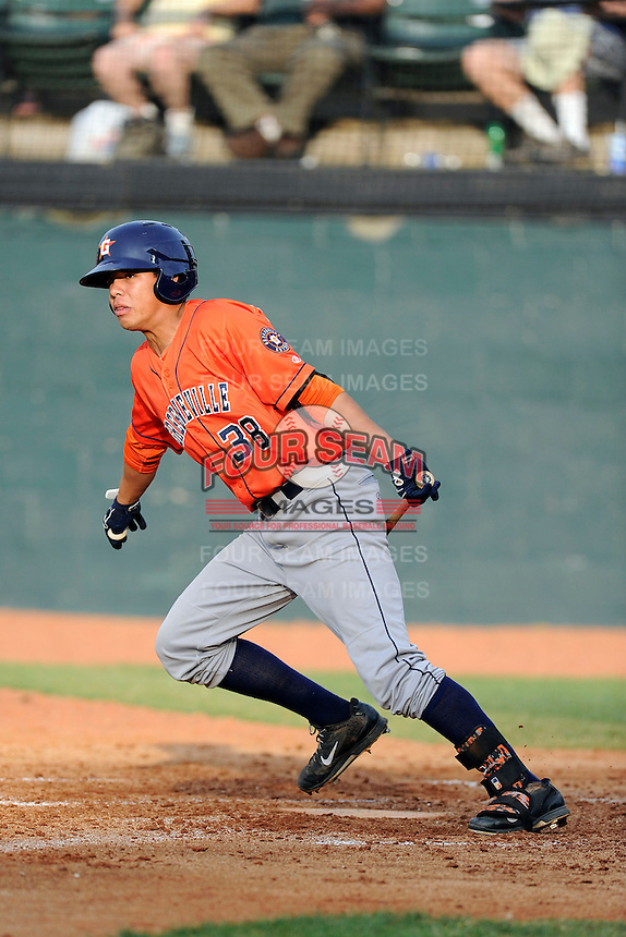 Third baseman Kristian Trompiz (38) of the Greeneville Astros bats in a game against the Bristol Pirates on Saturday, July 26, 2014, at DeVault Memorial Stadium in Bristol, Virginia. Greeneville won, 2-1 in Game 1 of a doubleheader. (Tom Priddy/Four Seam Images)