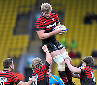 Watford, England. George Kruis of Saracens wins the line out during Aviva Premiership Saracens vs London Wasps at Vicarage Road  Watford England on November 4, 2012