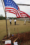 The American flag flies over the field during a game on August 4, 2012 at the Swansea Moose Lodge fields between the Belleville Stags and the St. Louis Unions.  The flag is historically accurate, with only 34 stars -- the number of states in the union in the year 1860.