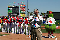 March 4, 2010:  Jim Demke performs the national anthem before a Philadelphia Phillies Spring Training game at Bright House Field in Clearwater, FL.  Photo By Mike Janes/Four Seam Images