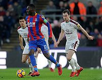 Burnley's Jack Cork and Ashley Barnes vies for possession with Crystal Palace's Christian Benteke<br /> <br /> Photographer Ashley Crowden/CameraSport<br /> <br /> The Premier League - Crystal Palace v Burnley - Saturday 13th January 2018 - Selhurst Park - London<br /> <br /> World Copyright &copy; 2018 CameraSport. All rights reserved. 43 Linden Ave. Countesthorpe. Leicester. England. LE8 5PG - Tel: +44 (0) 116 277 4147 - admin@camerasport.com - www.camerasport.com