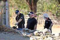 Pictured: Forensics officers at the site where the farmhouse extension used to be in Kos, Greece. Thursday 06 October 2016<br />