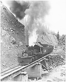 RGS K-27 #455 northbound on bridge 64-A in Burns Canyon hauling freight.<br /> RGS  Burns Canyon, CO  Taken by Gerbaz, Del H. - 1950