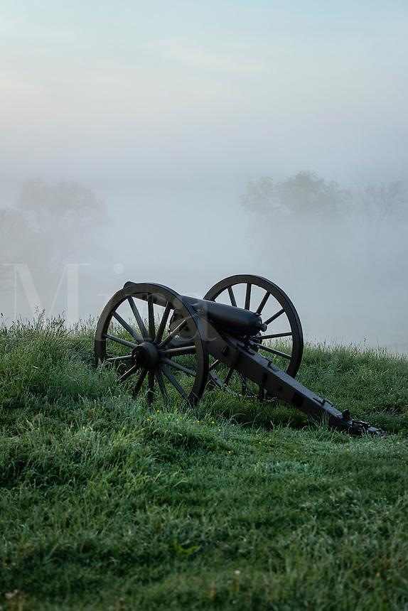Cannons on Cemetery Hill battlefield, Gettysburg National Military Park, Pennsylvania, USA