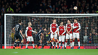Aleksandr Golovin of CSKA Moscow scores the equalising goal from a free kick during the UEFA Europa League QF 1st leg match between Arsenal and CSKA Moscow  at the Emirates Stadium, London, England on 5 April 2018. Photo by Andrew Aleksiejczuk / PRiME Media Images.