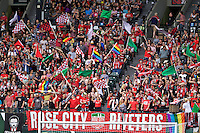 Portland, Oregon - Sunday May 29, 2016: Portland Thorns FC fans. The Portland Thorns play the Seattle Reign during a regular season NWSL match at Providence Park.