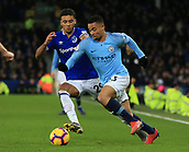 6th February 2019, Goodison Park, Liverpool, England; EPL Premier League Football, Everton versus Manchester City; Gabriel Jesus of Manchester City takes the ball past Dominic Calvert-Lewin of Everton